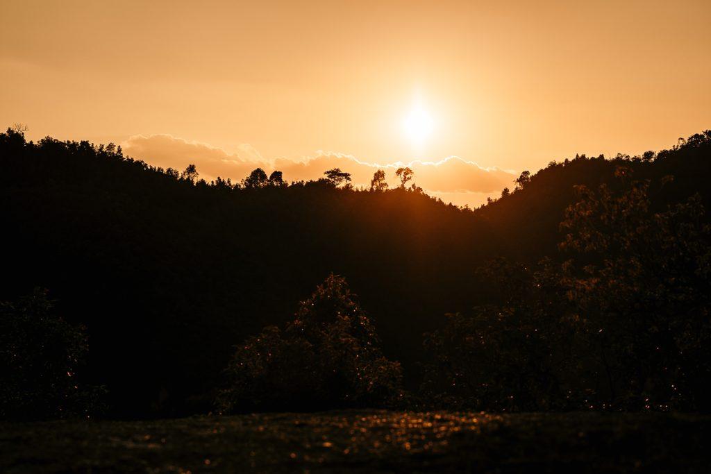 Trek au Laos chez les Akha coucher soleil laos