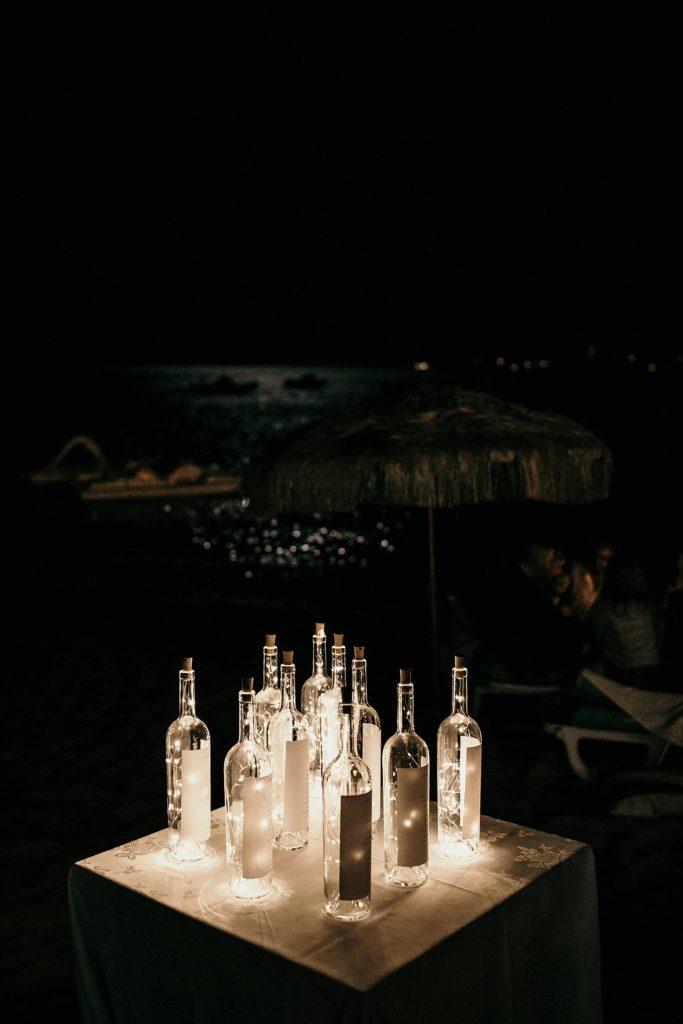 mariage bormes mimosas décoration bouteille illuminées