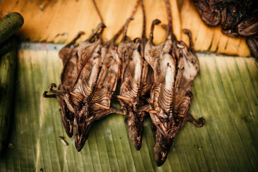 Voyage au Laos morning market food rat